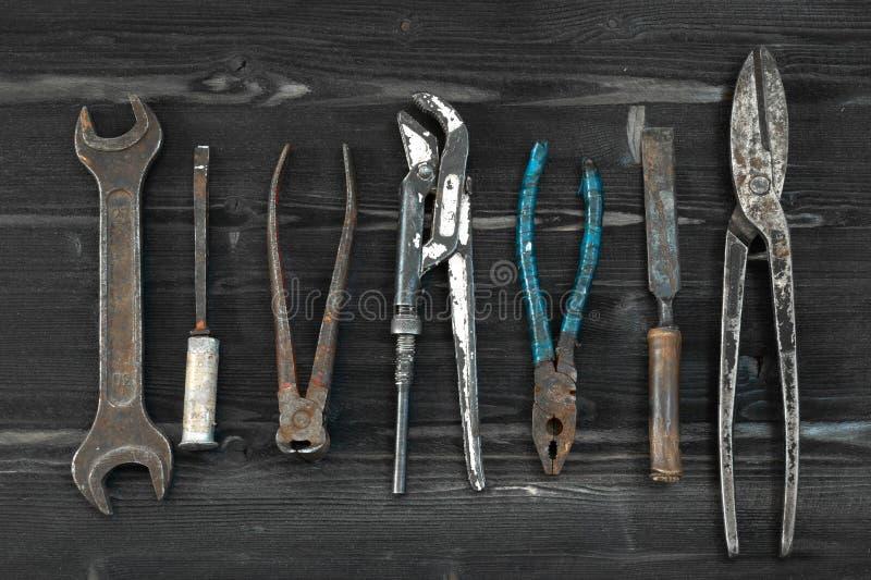 Hand Tools set flat lay. Used vintage retro style royalty free stock image