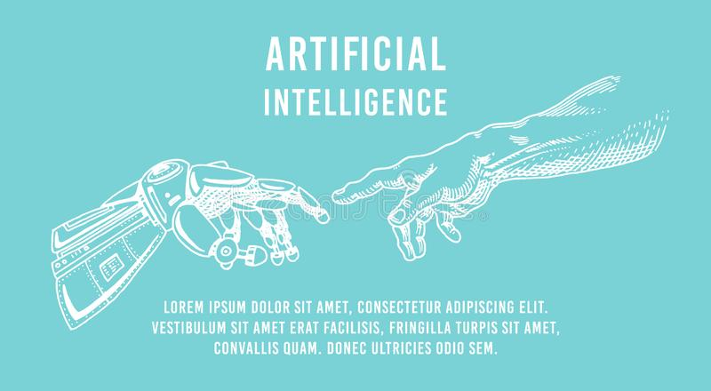 Hand touch. Android and human. Artificial intelligence Banner. Bionic arm poster. Future technology. Vintage Engraved royalty free illustration