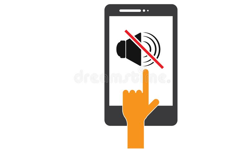 Hand Touch Android Mobile Phone - Please Mute your Mobile Phone , Silent Mobile phone, Volume Off Icon stock illustration