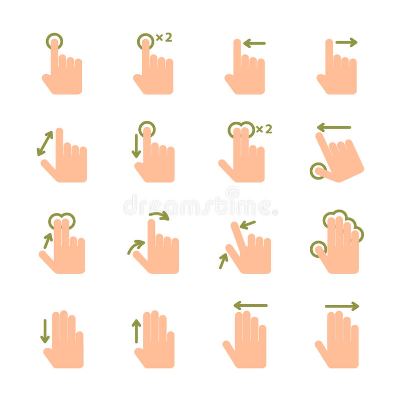 Hand touch gestures icons set vector illustration