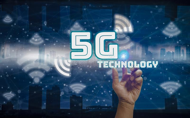 Hand touch icon 5G network wireless system internet of things cover,background city landscape and skyscrapers modern,concept Smart royalty free illustration