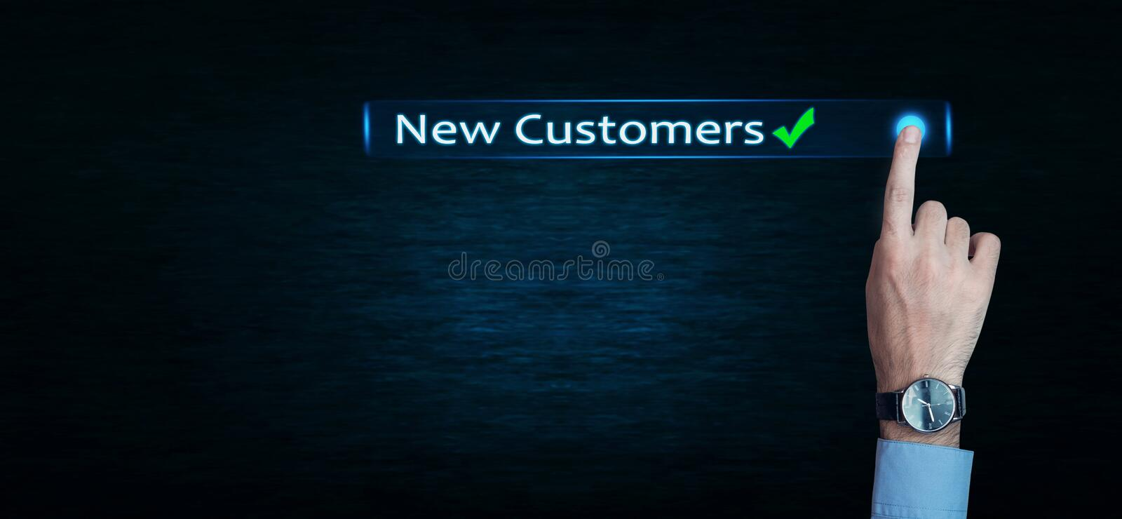 Hand touch New Customers word. royalty free stock photos