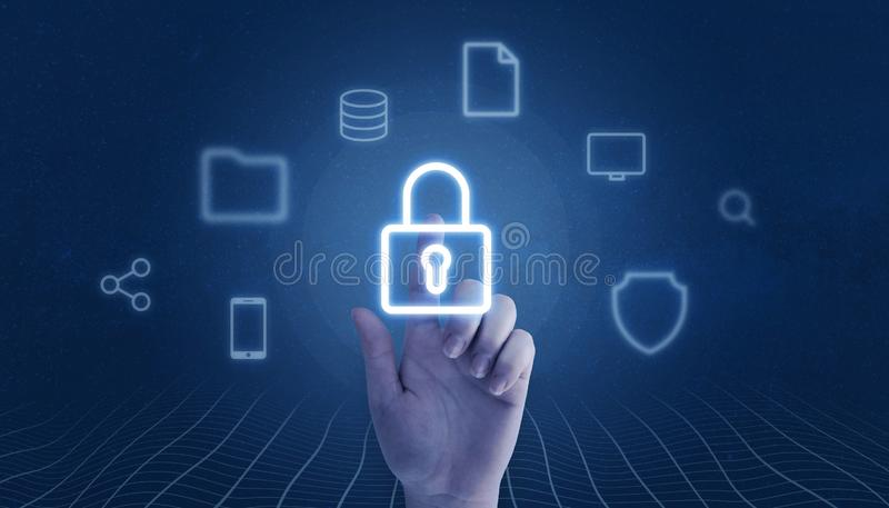 Hand touch padlock surrounded with online services icons. Data and privacy security concept stock photos