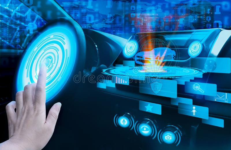 Hand touch screen dashboard graphic user interfaceGUIdigital hologram,virtual screen system HUDHead Up Displayof futuristic royalty free stock photos
