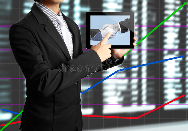 Download Hand Touch Screen Graph On A Tablet Stock Illustration - Image: 25446676