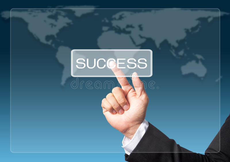 Hand touch screen interface business concept. Success stock illustration