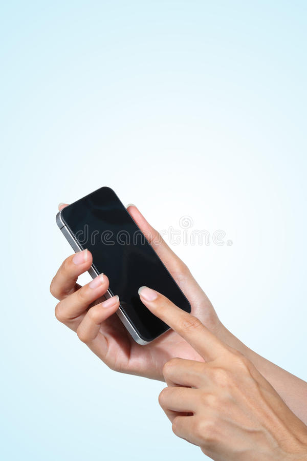 Download Hand Touch Screen On Smartphone Stock Photography - Image: 26845042
