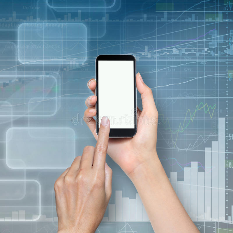 Hand Touch Screen On Smartphone Stock Photo