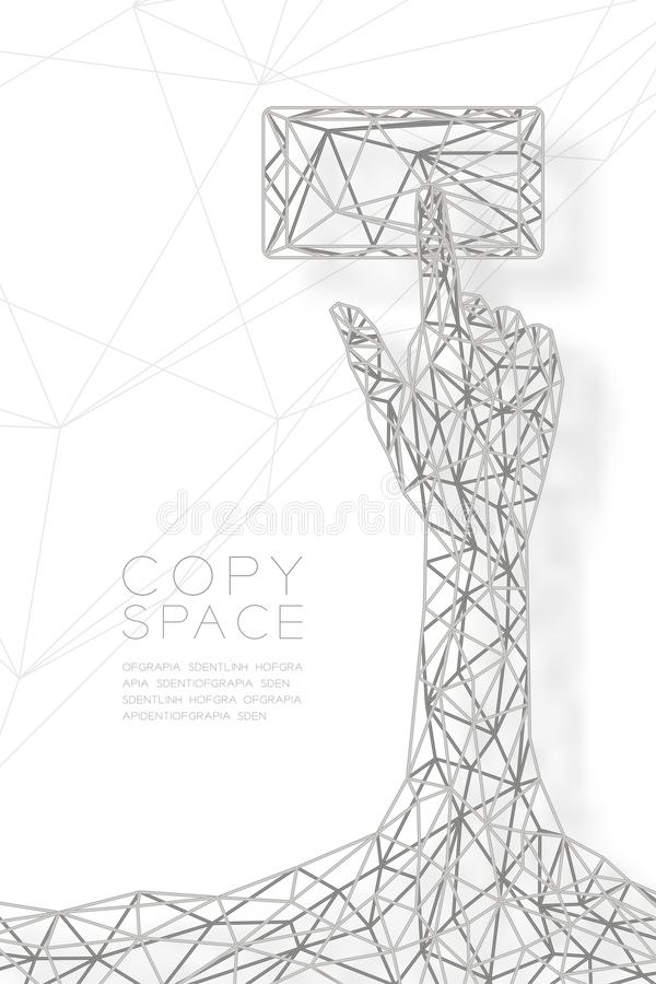 Hand touch screen smartphone shape wireframe Polygon silver frame structure, connect technology concept design illustration. Isolated on black gradient royalty free illustration