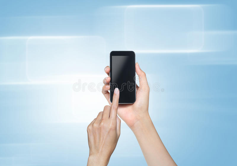Hand touch screen on tablet pc with icons. Female hand touch screen on tablet pc. with icons over blue-violet background royalty free stock photo