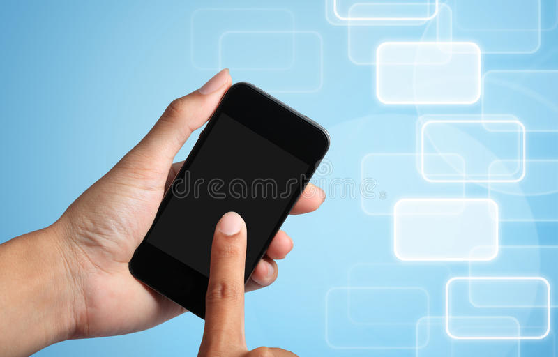 Download Hand Touch Screen To Smart Phone Stock Photos - Image: 25923633