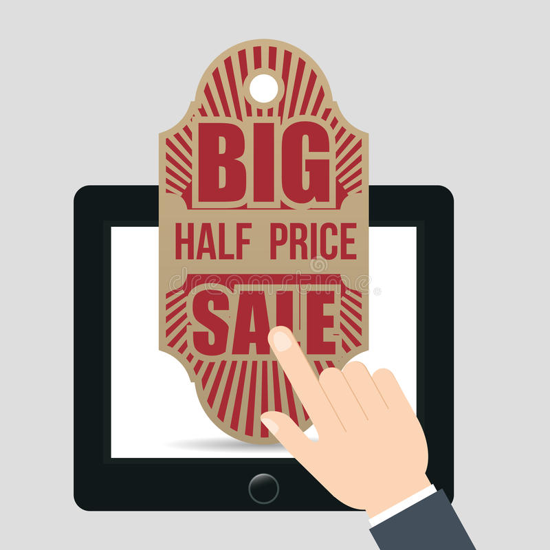 hand touch tablet tag big half price sale royalty free illustration