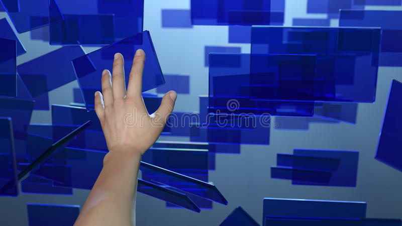 Hand touches flying screens stock illustration