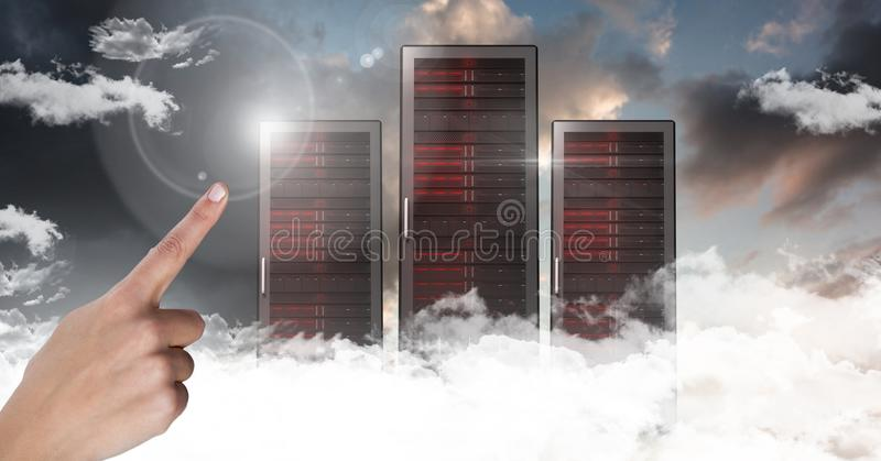 Hand touching air with servers in clouds and sky background royalty free illustration