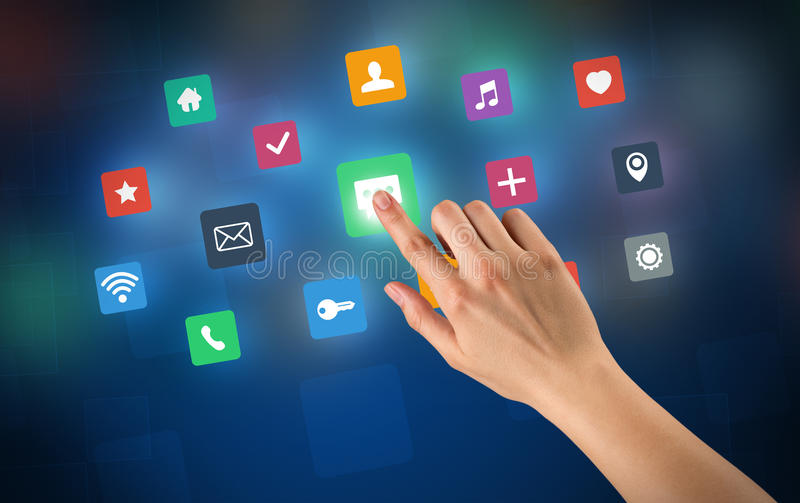 Hand touching apps. Female hand touching colorful applications stock illustration