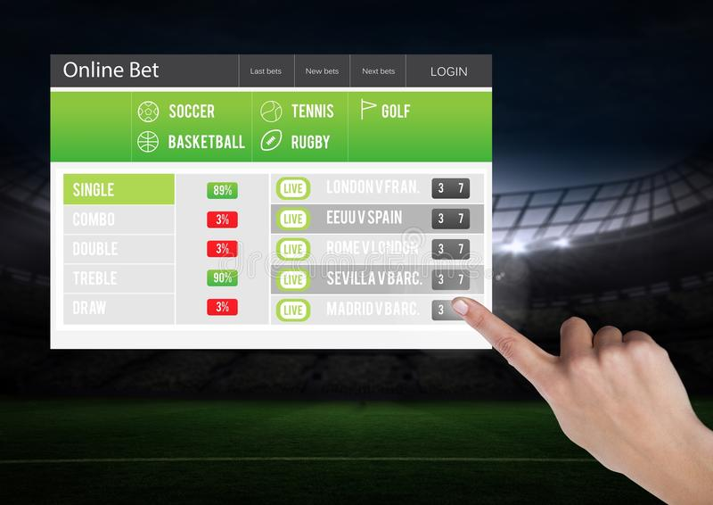 Hand touching a Betting App Interface stadium stock photography