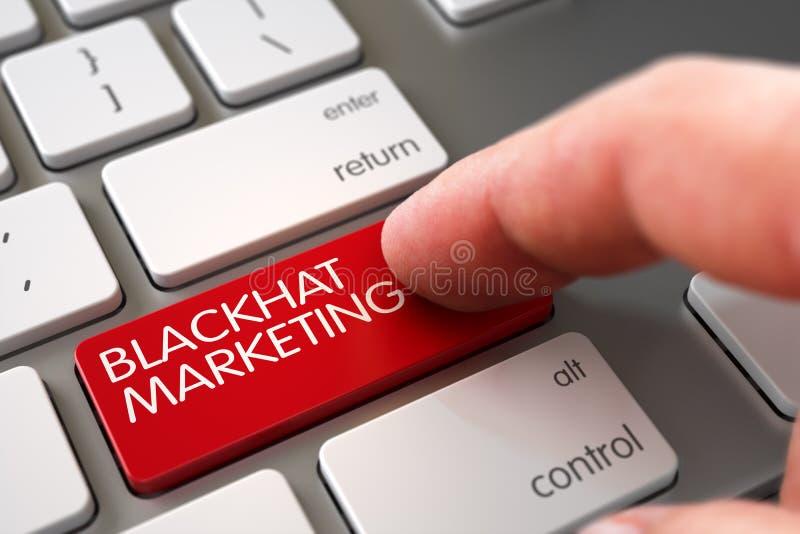 Hand Touching Blackhat Marketing Button. 3D. Finger Pushing Blackhat Marketing Red Keypad on Modern Laptop Keyboard. 3D Illustration stock photo