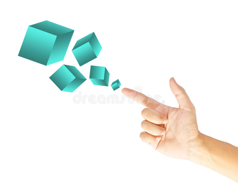 Download Hand touching boxes stock photo. Image of cube, metaphor - 26554882