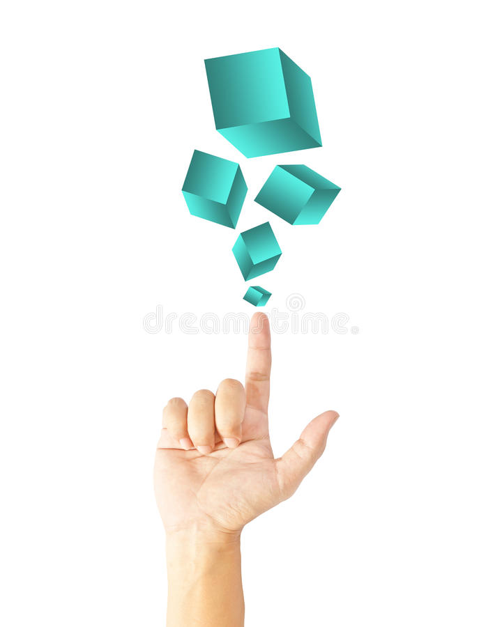 Download Hand touching boxes stock image. Image of metaphor, cube - 26554909