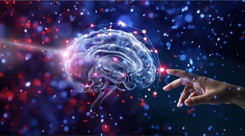 Hand touching brain and network connection on glitter. Human hand touching brain and network connection on glitter bright lights colorful background stock illustration