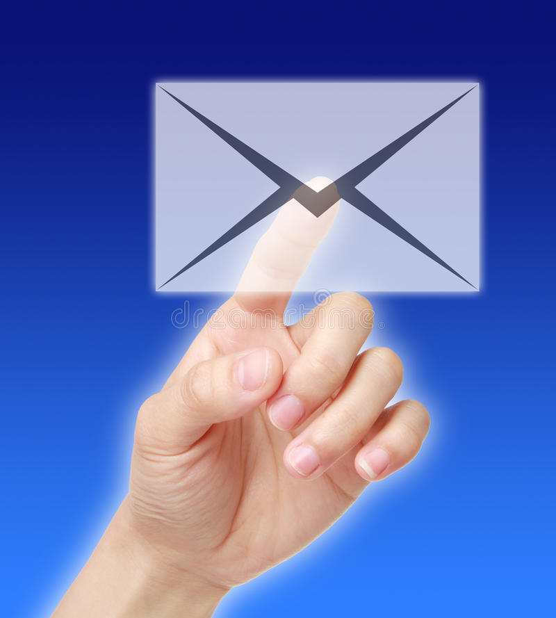 Hand touching email icon royalty free stock photo