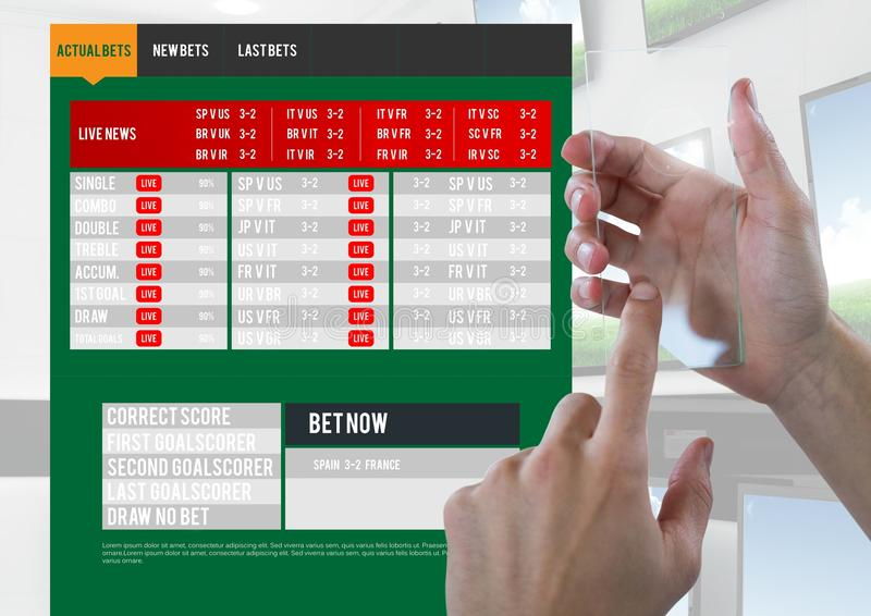 Hand touching a glass screen with a Betting App Interface televisions vector illustration