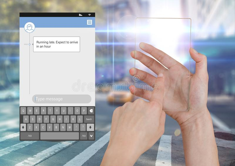 Hand Touching Glass Screen and Social Media Messenger App Interface on street road running late royalty free illustration