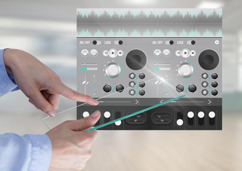 Hand Touching Glass Screen Sound Music and Audio production engineering equalizer App Interface royalty free stock images