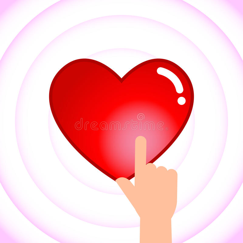 Hand Touching Heart Creating Waves vector illustration