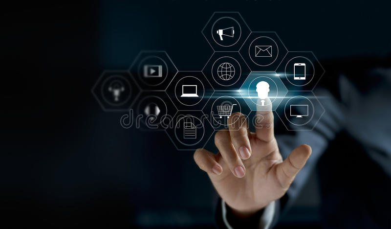 Hand touching icon payments global network connection on dark background stock photo