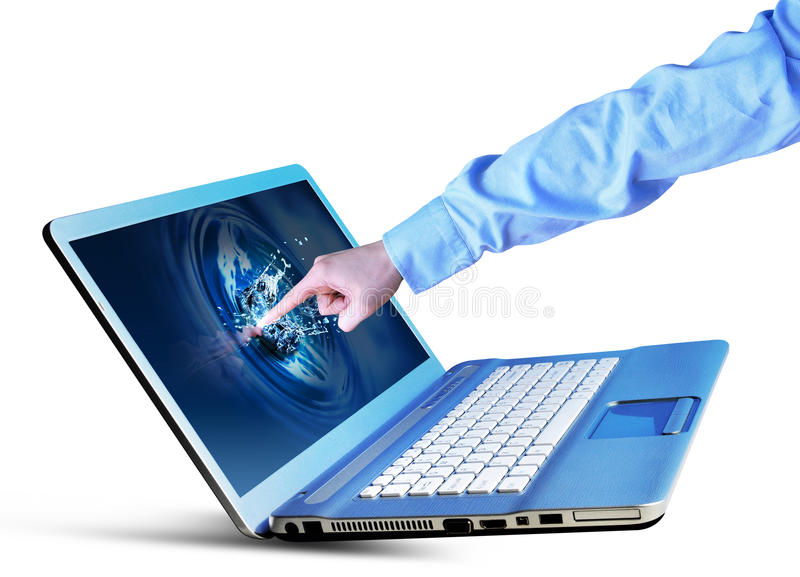 Download Hand Touching Laptop stock image. Image of business, objects - 18174423