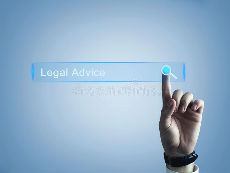 Hand touching on Legal Advice search button. Web search concept royalty free stock images
