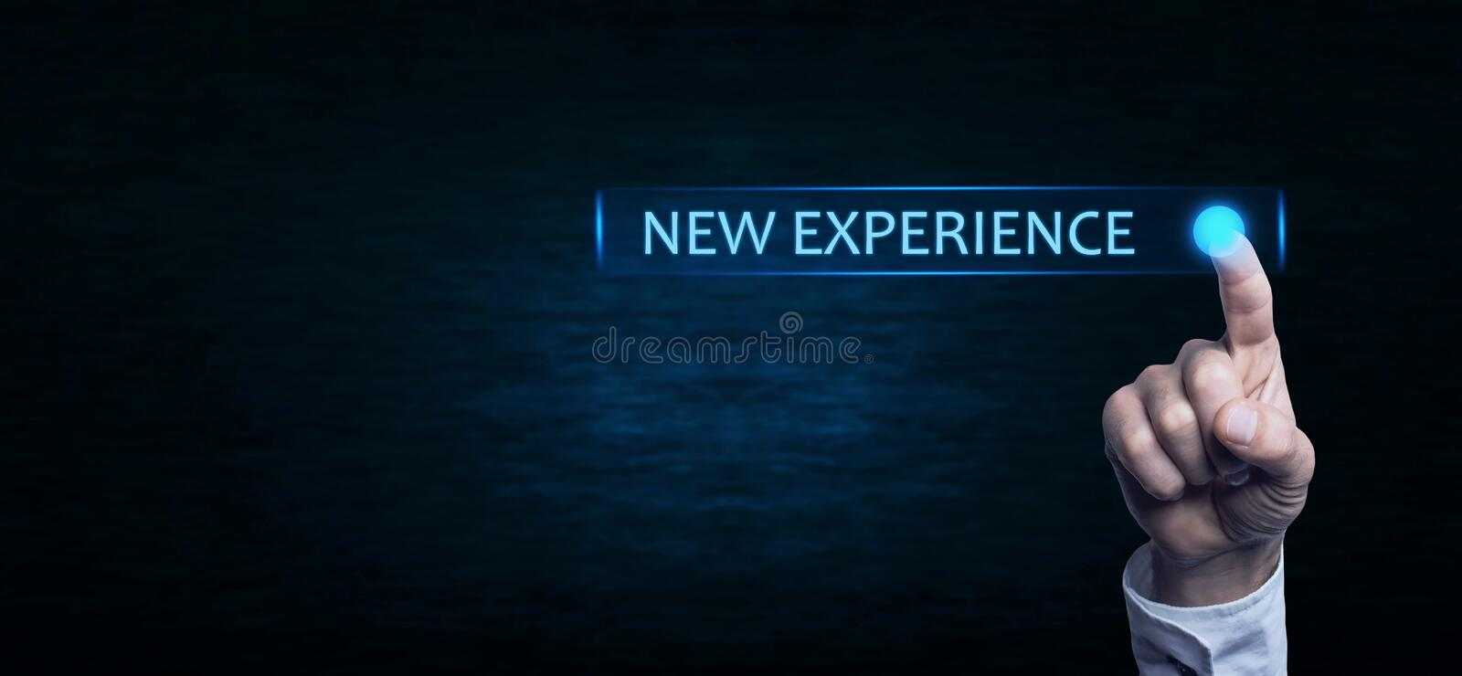 Hand touching New Experience text. Hand touching New Experience text on a screen royalty free stock photos
