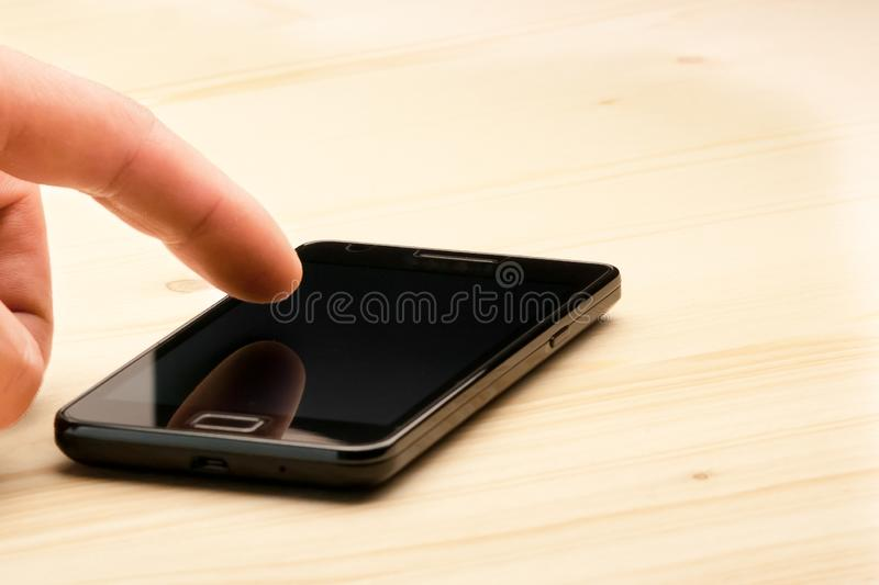 Download Hand Touching Screen Of Black Smartphone Stock Illustration - Image: 25176125