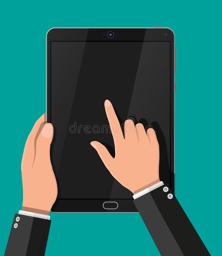 Hand touching screen of black tablet computer. royalty free illustration