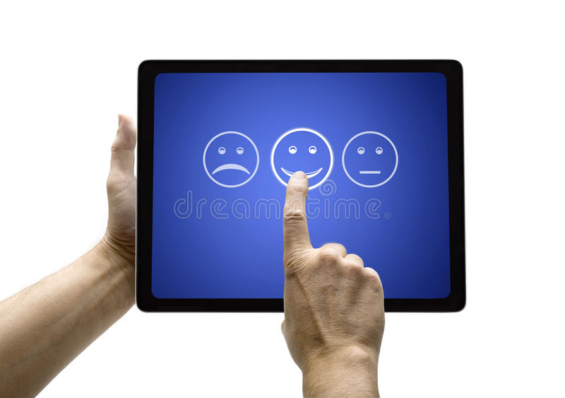 Hand touching screen with customer service evaluation form on a royalty free stock image