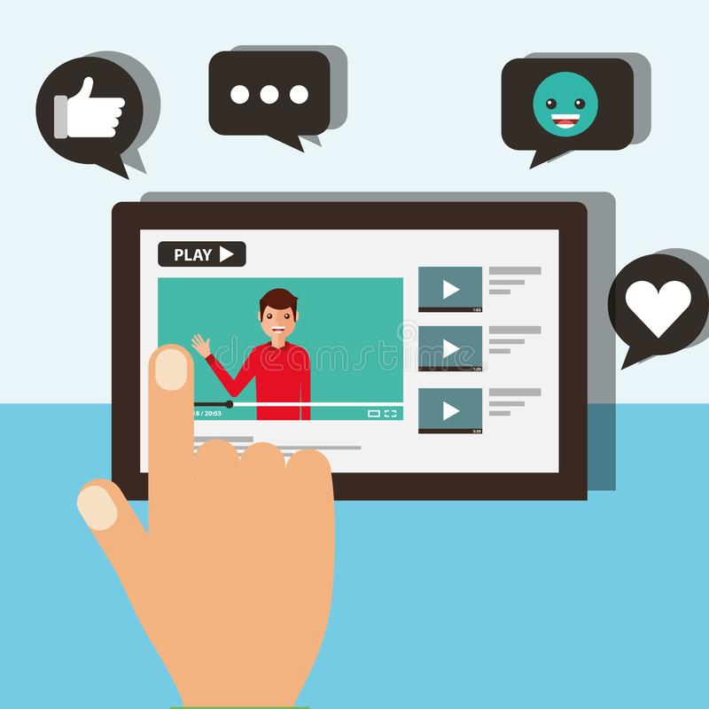 hand touching screen mobile blogger man video viral content stock illustration