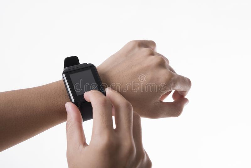 Hand touching screen smart watch technology gadget communication. Isolated on white background stock photos