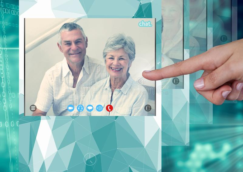 Hand touching Social Video Chat App Interface stock illustration