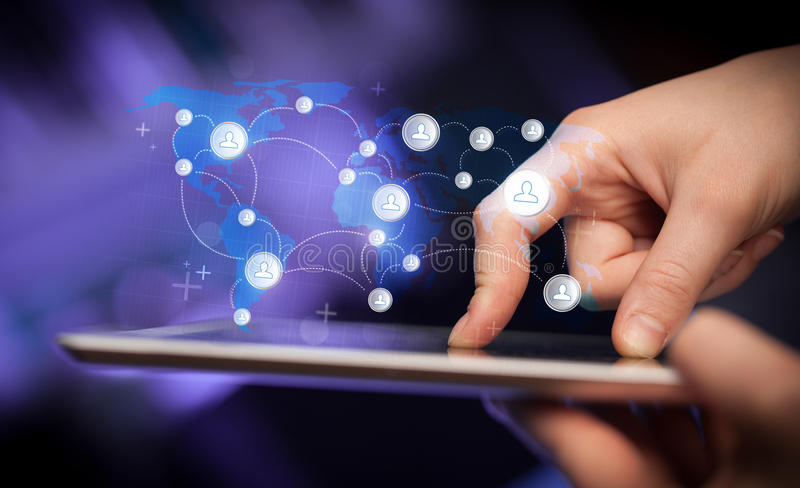 Download Hand Touching Tablet Pc, Social Network Concept Stock Image - Image: 41258523