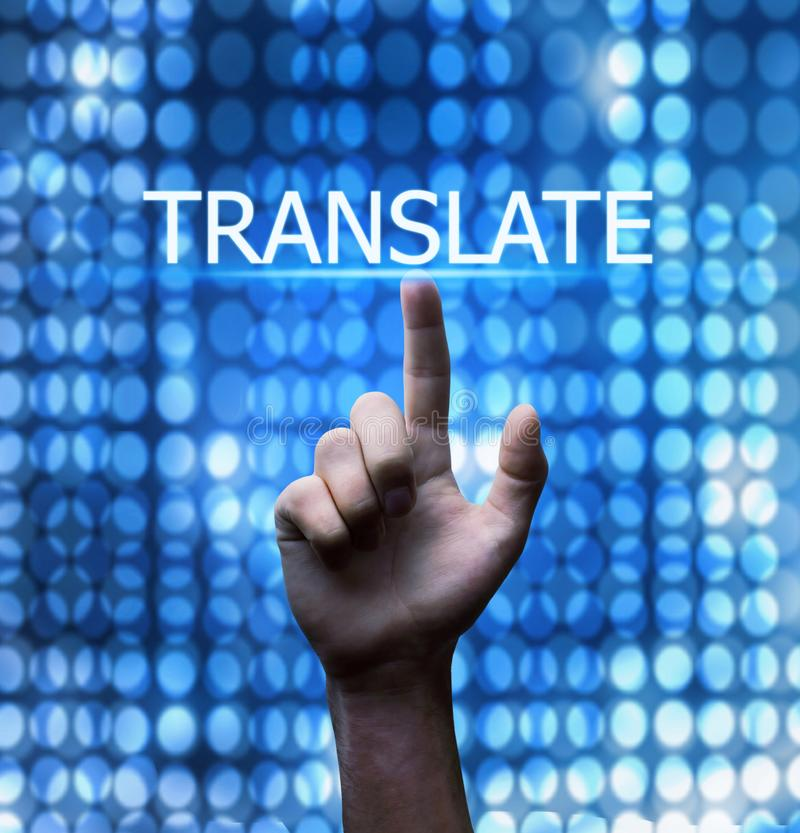 Hand touching on Translate word. Business concept stock photo