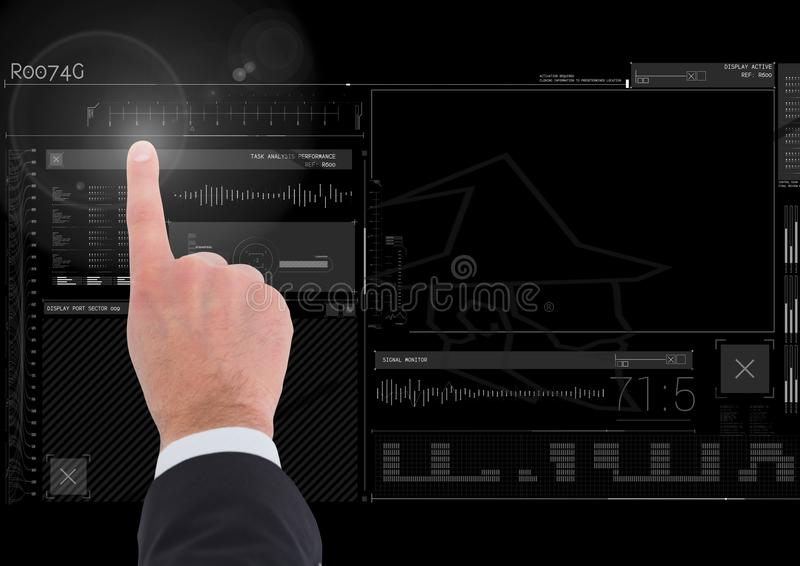 Hand touching user interface technology graphics vector illustration