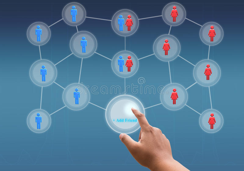 Hand touching virtual screen of social network. Hand pushing a button on a touch screen interface royalty free stock images