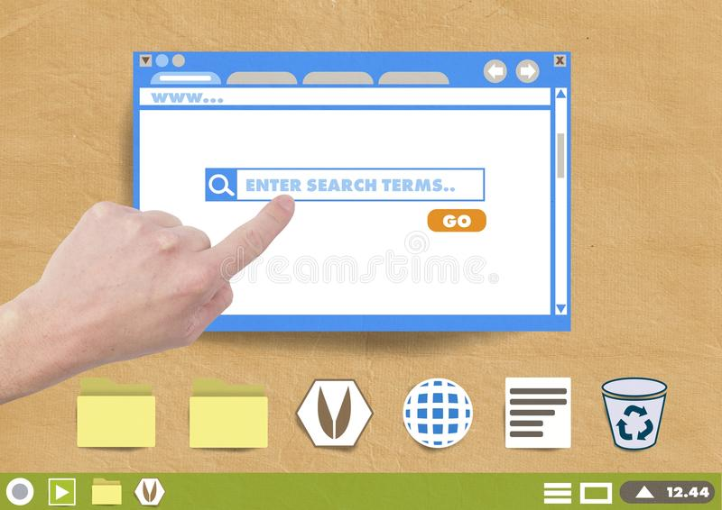 Hand touching Website search box window and Folder and files icons on Paper cut out desktop. Digital composite of Hand touching Website search box window and stock photo