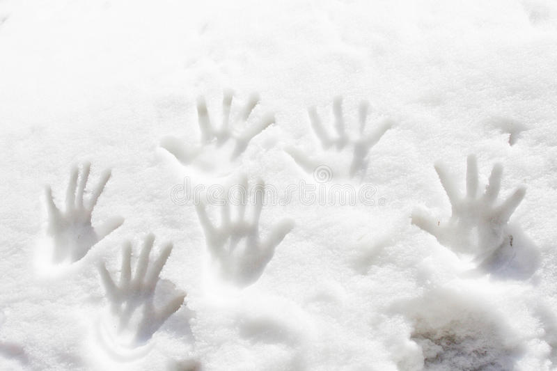 Hand tracks in the snow