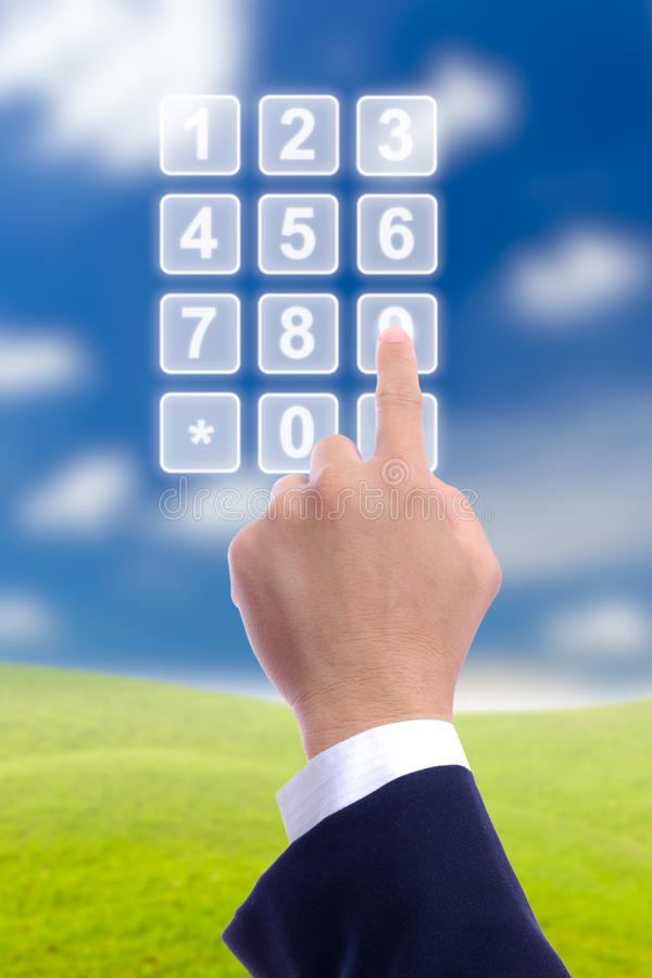 Download Hand With Transparent Telephone Buttons Stock Photo - Image: 20306100