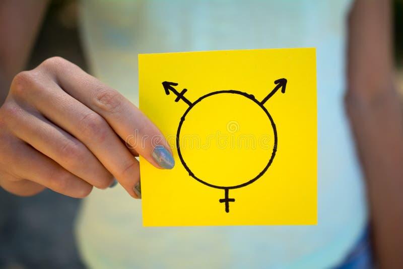 In hand transsexueelsymbool stock afbeelding