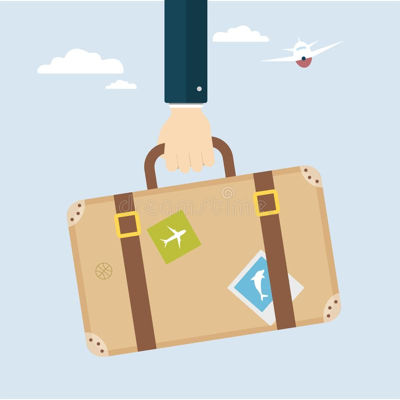 Hand with travel bag. vector illustration