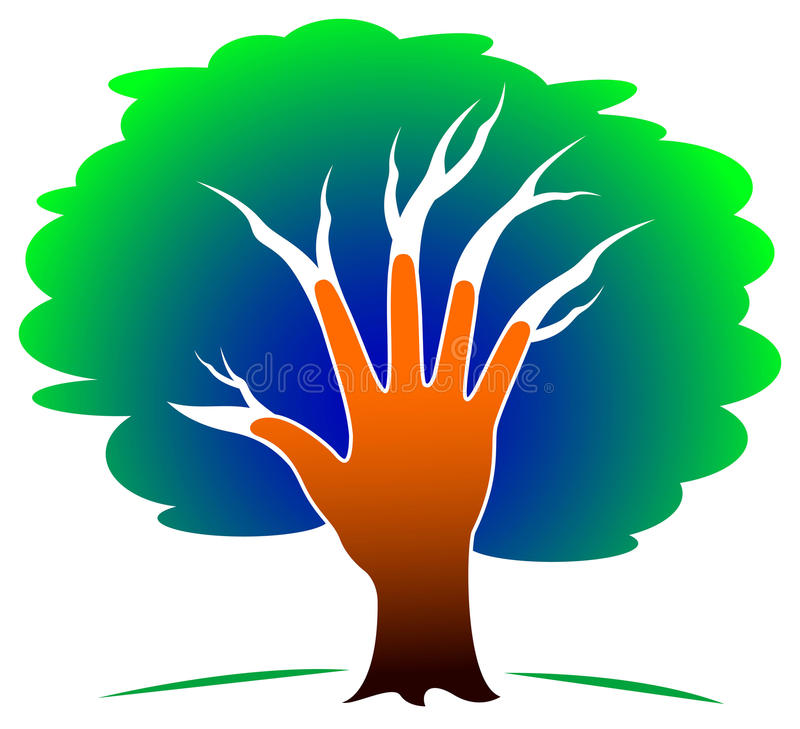 Hand tree royalty free illustration