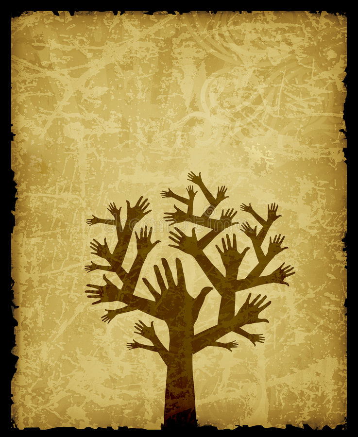 Hand tree. Illustration of tree with bunch of hands